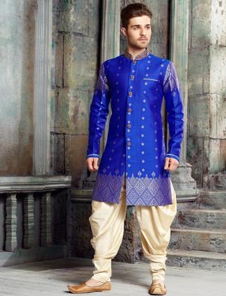 Designer blue raw silk kurta suit