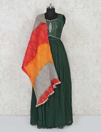 Designer bottle green cotton Anarkali salwar suit for festival