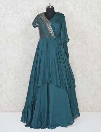 Designer bottle green indowestern salwar suit in satin