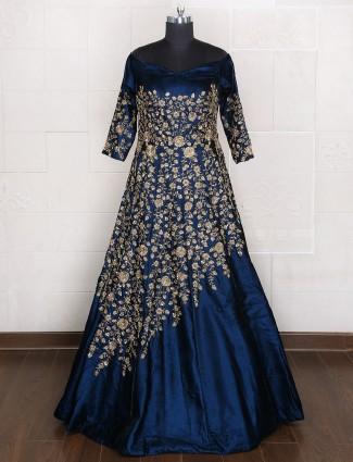 Designer bridal wear blue gown