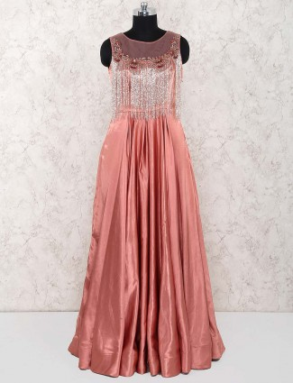 Designer bright peach silk gown