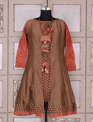 Designer brown color patiala suit