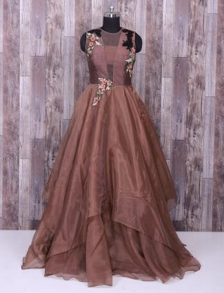 Designer brown hue tissu silk gown