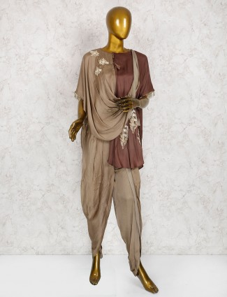 Designer brown silk dhoti suit