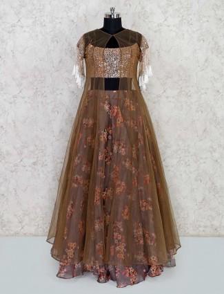 Designer brown tissue silk lehenga for wedding function