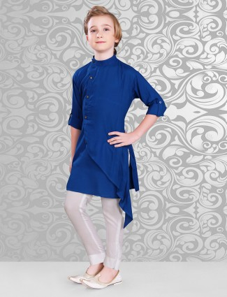 Designer cotton blue kurta suit