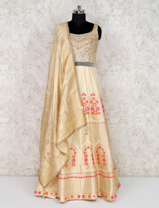 Designer cream banarasi silk anarkali dress