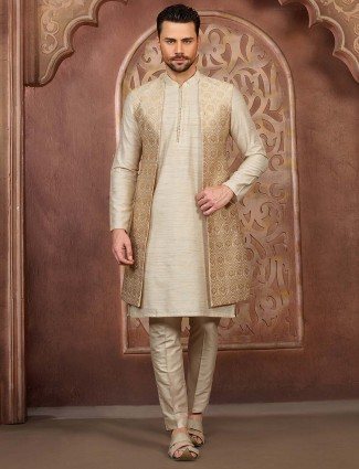Designer cream hue jecket style waistcoat set