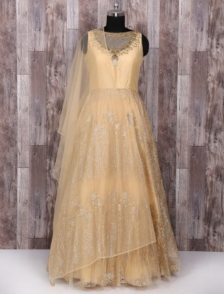 Designer cream net anarkali suit