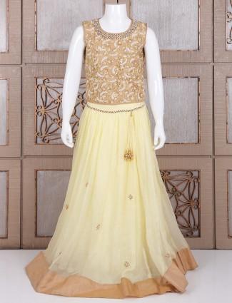 Designer cream net party wear lehnega choli