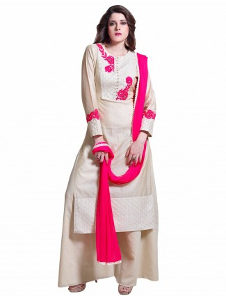 Designer cream party wear ready made silk salwar suit