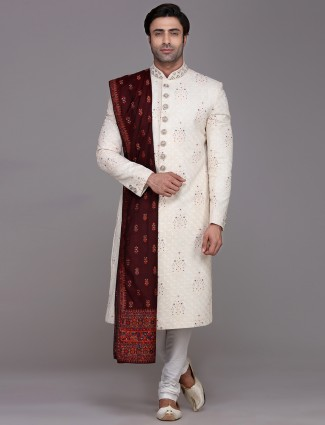 Designer cream sherwani in silk