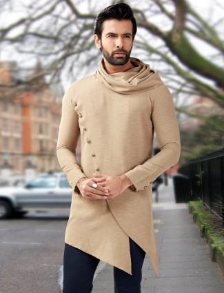 Designer cream silk festive wear short pathani kurta