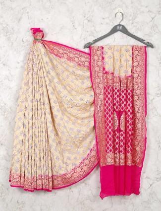 Designer Cream Wedding Wear Bandhej Saree