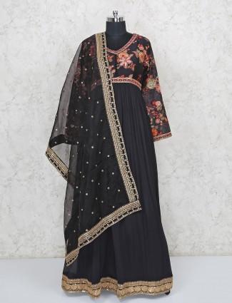 Designer floor length black anarkali suit in georette