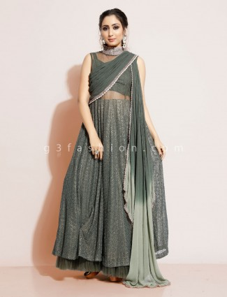 Green georgette designer suit for wedding