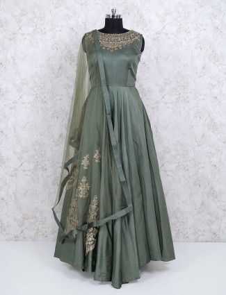 Designer green color cotton silk anarkali salwar kameez