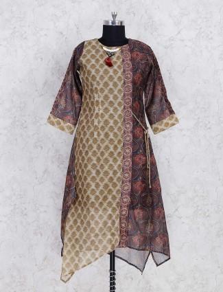 Designer beige and brown cotton kurti