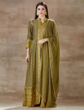 Designer green cotton silk palazzo salwar suit