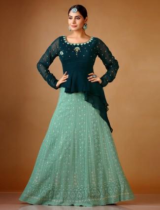 Designer green georgette lehenga suit for wedding