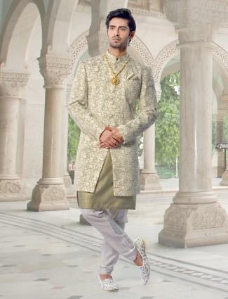 Designer green indo western fusion for mens
