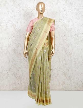 Designer green organza tissue silk readymade blouse saree for wedding