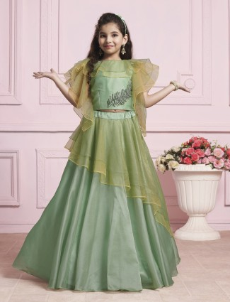 Designer green silk choli suit