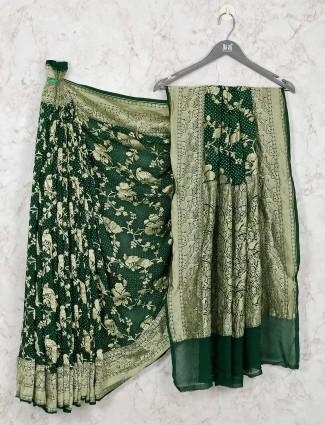 Designer green wedding bandhej saree
