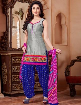 Designer grey cotton silk wedding wear ready made punjabi salwar suit