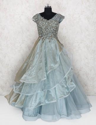 Designer grey hue gown for wedding function