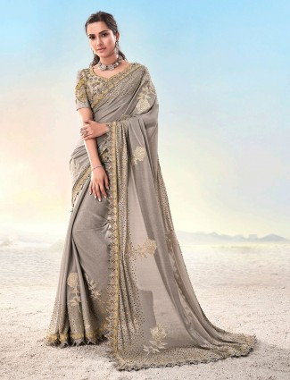 Designer grey saree for party in georgette