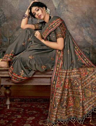 Designer grey saree in banarasi silk for wedding