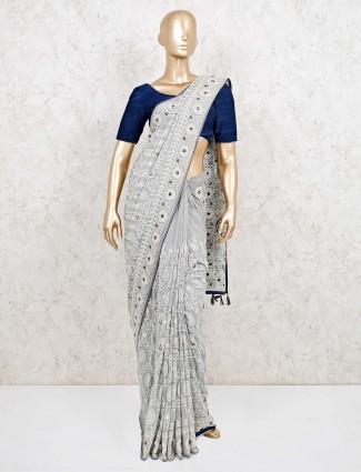 Designer grey saree in georgette