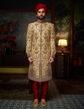Designer groom beige color sherwani