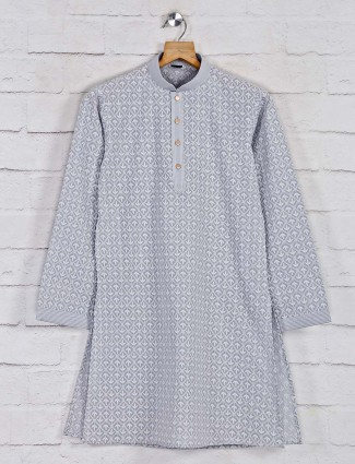 Designer kurta pajama in grey cotton