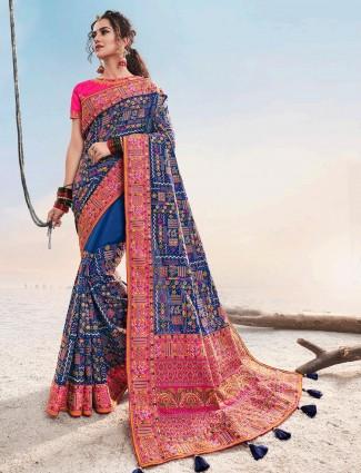 Designer latest blue cotton silk saree for wedding