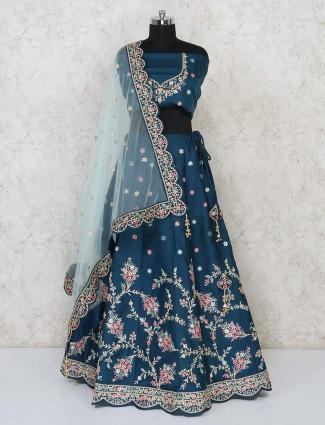 Designer latest blue semi stitched bridal lehenga in silk