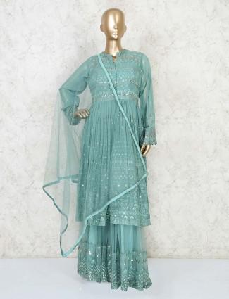 Designer latest green sharara suit for wedding in georgette