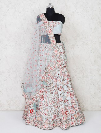 Designer latest light grey semi stitched bridal lehenga in silk