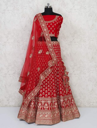 Designer latest red semi stitched bridal lehenga choli in silk