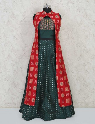 Designer lehenga style maroon and bottle green salwar suit in cotton silk for festivals