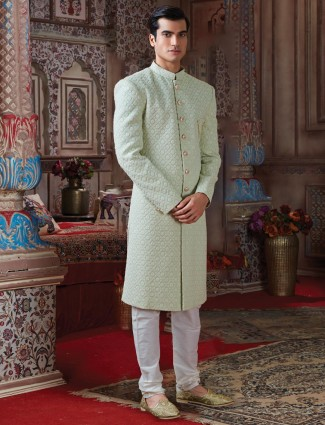Designer light green georgette sherwani