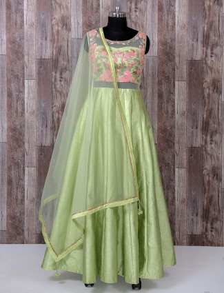 Designer light green silk anarkali suit