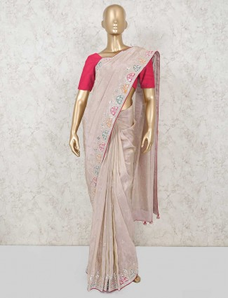 Designer light onion pink satin silk saree for party