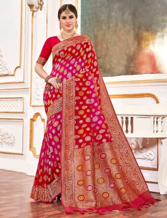 Designer magenta and red saree for wedding in bandhej georgette