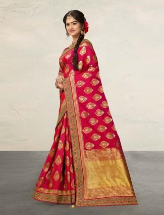 Designer magenta banarasi silk saree