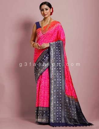 Designer magenta banarasi silk saree in wedding