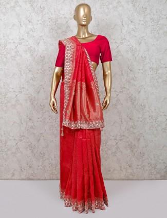Designer magenta designer banarasi silk saree