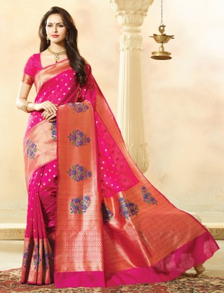 Magenta bhagalpuri silk wonderful saree
