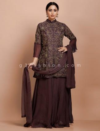 Designer maroon kurti with lehenga in raw silk for wedding